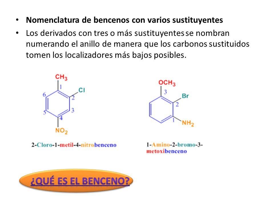 ¿Qué es el benceno Nomenclatura de bencenos con varios sustituyentes