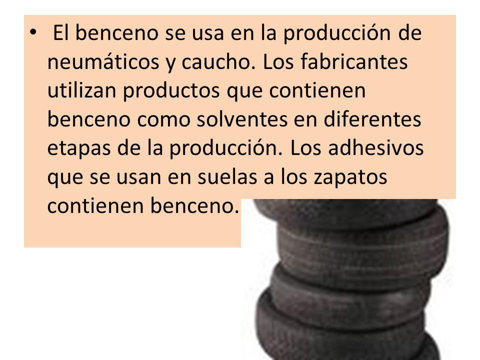 El benceno se usa en la producción de neumáticos y caucho