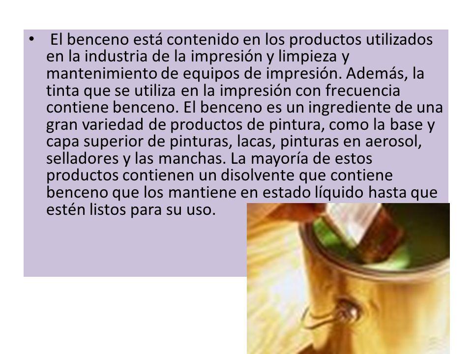 El benceno está contenido en los productos utilizados en la industria de la impresión y limpieza y mantenimiento de equipos de impresión.