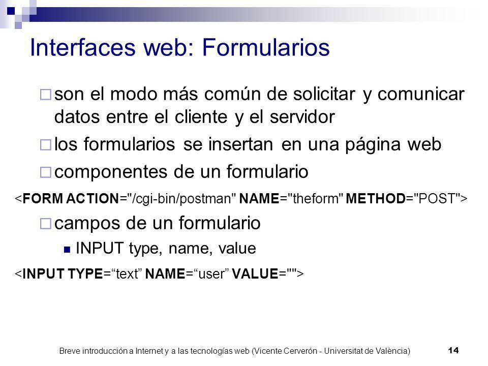 Interfaces web: Formularios