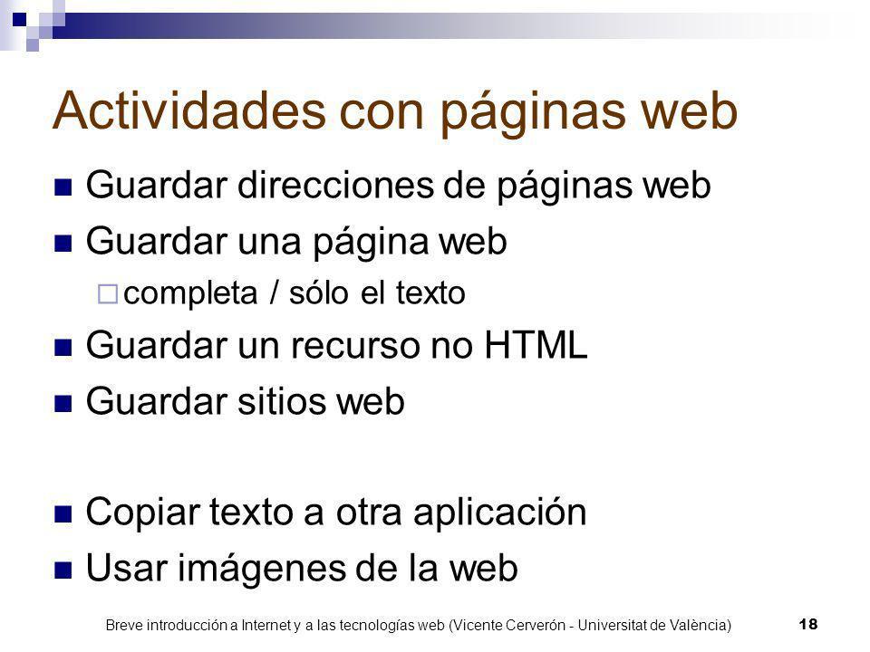 Actividades con páginas web
