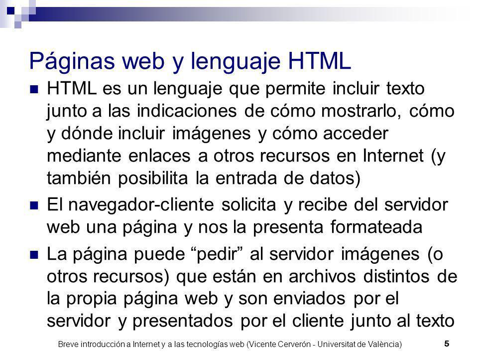Páginas web y lenguaje HTML