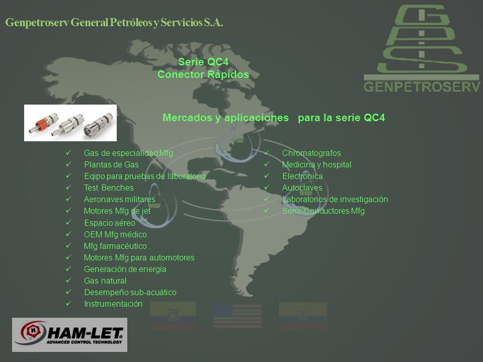 Serie QC4 Conector Rápidos Mercados y aplicaciones para la serie QC4