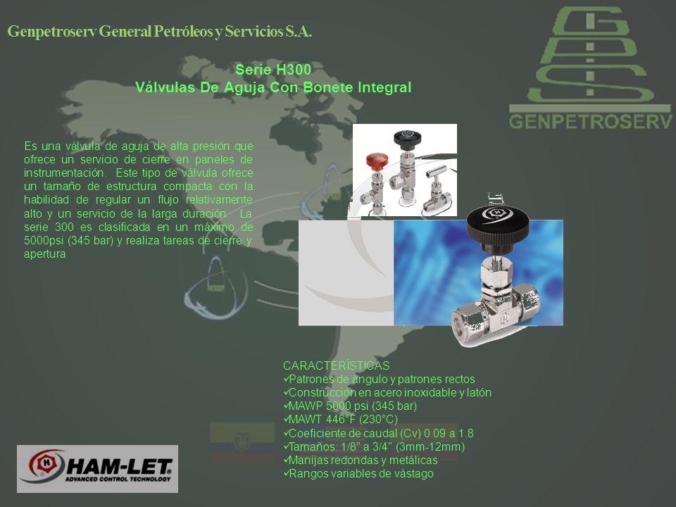 Serie H300 Válvulas De Aguja Con Bonete Integral