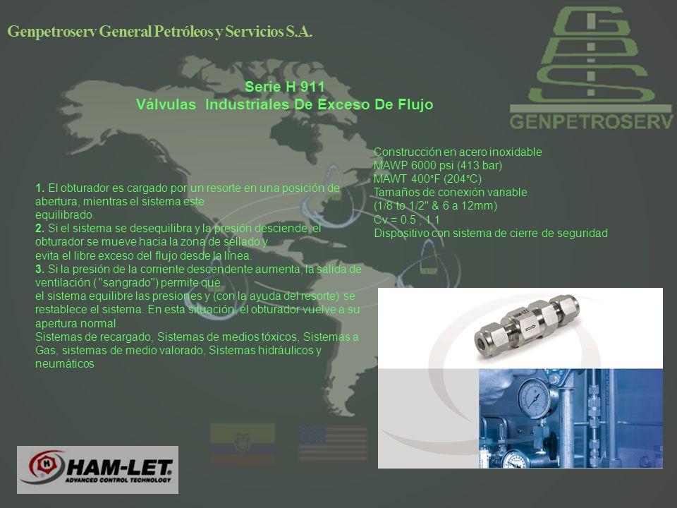 Serie H 911 Válvulas Industriales De Exceso De Flujo