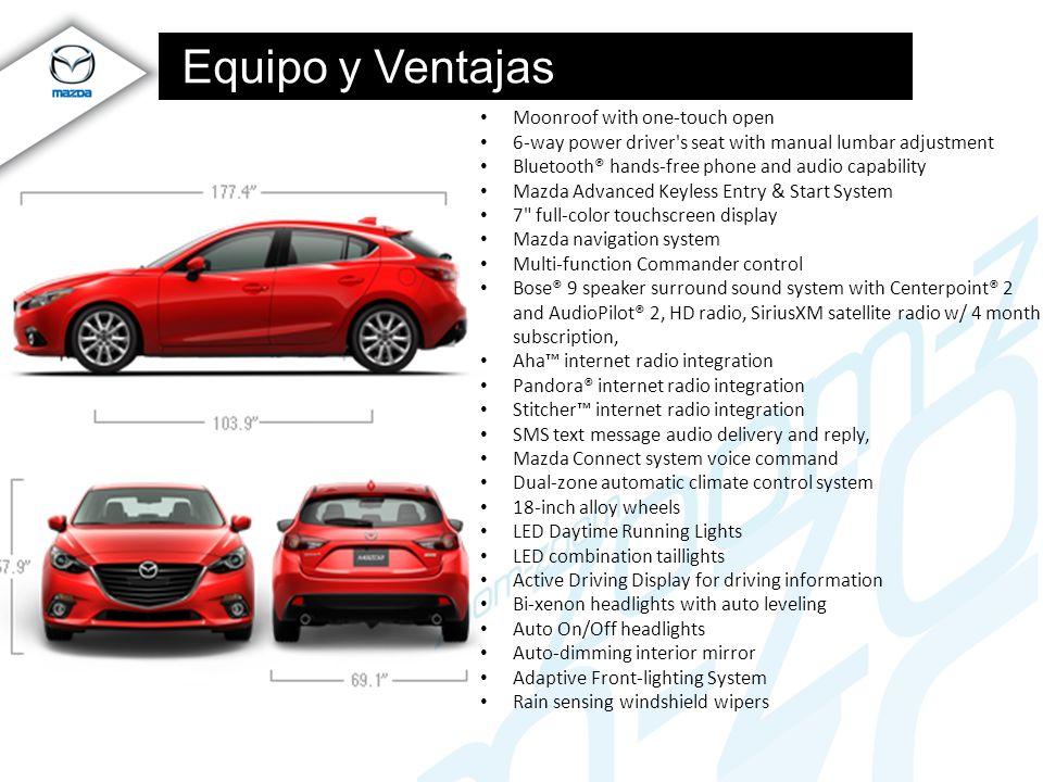 Equipo y Ventajas Moonroof with one-touch open