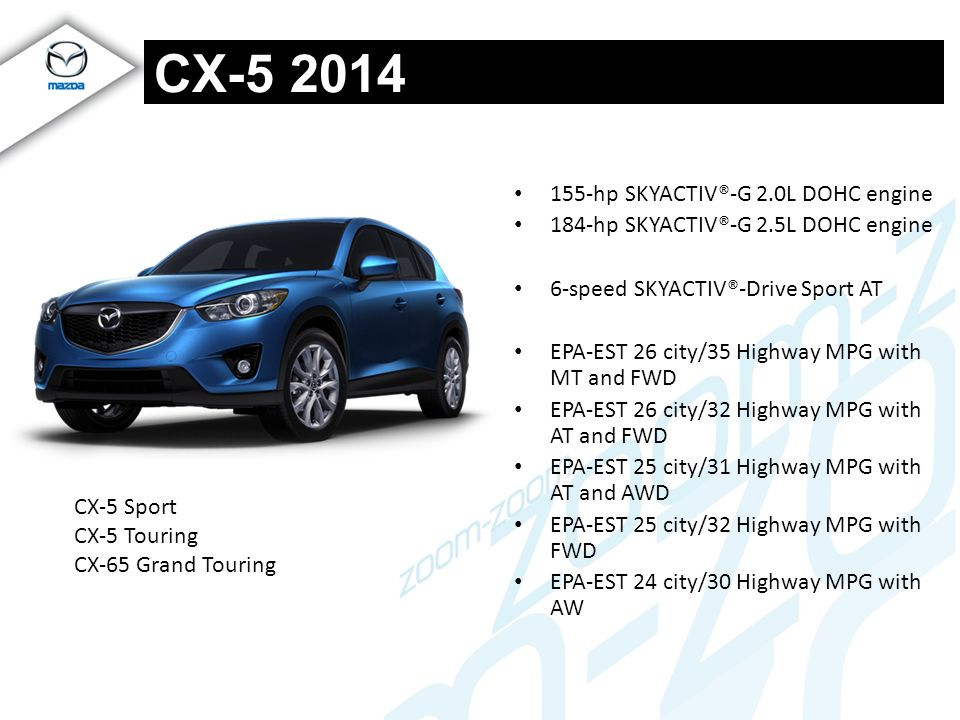CX-5 2014 155-hp SKYACTIV®-G 2.0L DOHC engine
