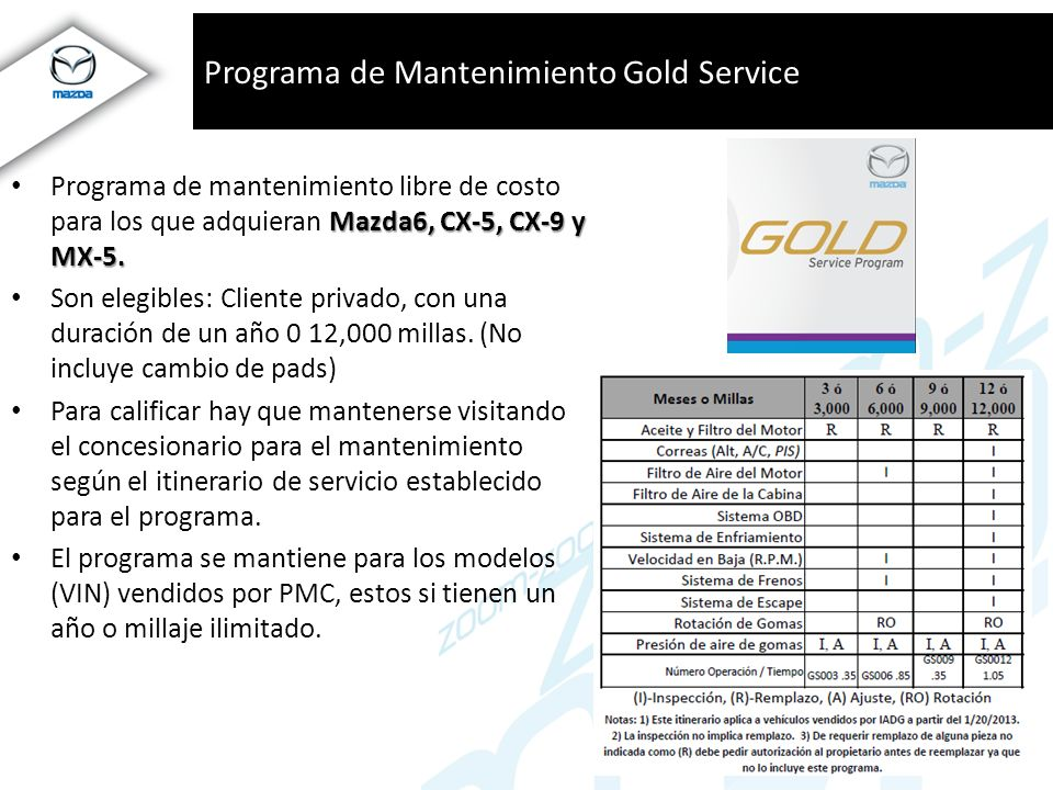 Programa de Mantenimiento Gold Service
