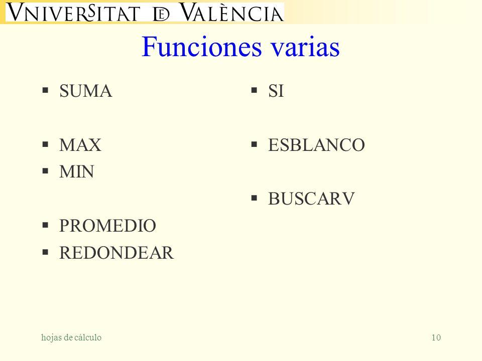 Funciones varias SUMA MAX MIN PROMEDIO REDONDEAR SI ESBLANCO BUSCARV