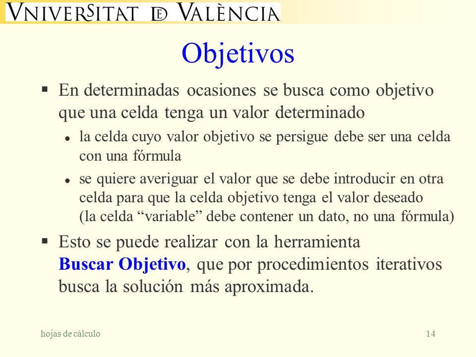 Objetivos En determinadas ocasiones se busca como objetivo que una celda tenga un valor determinado.