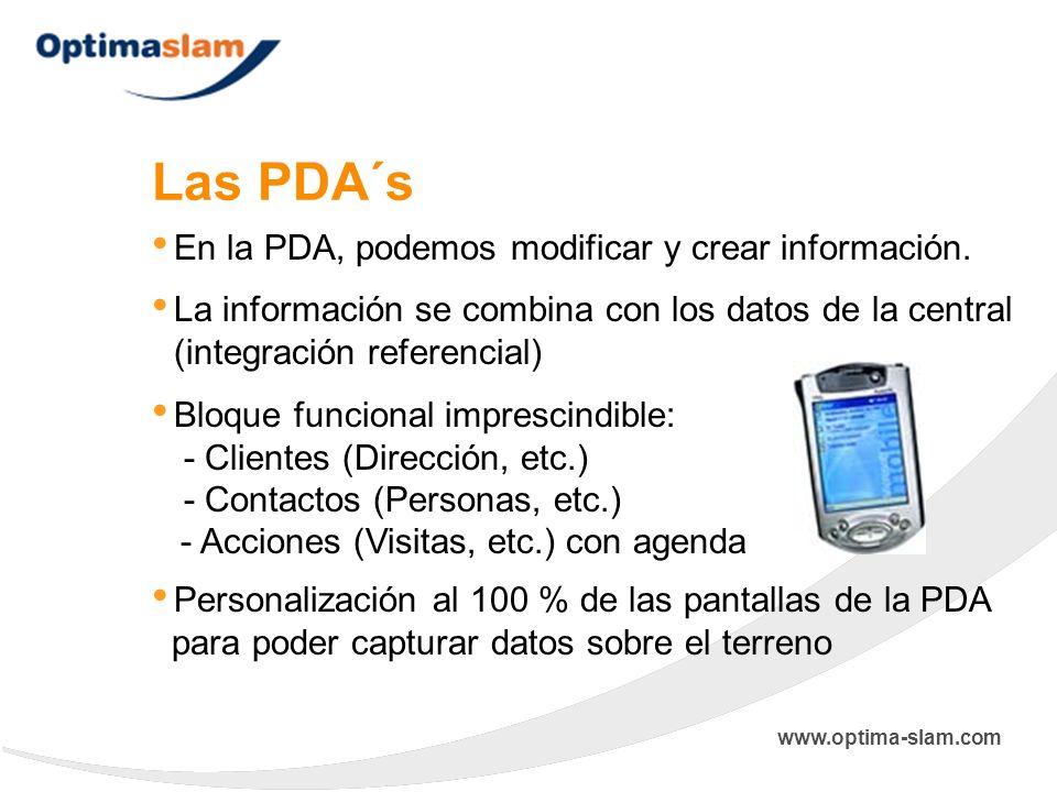Las PDA´s En la PDA, podemos modificar y crear información.