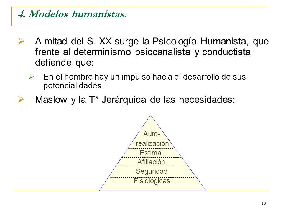 4. Modelos humanistas. A mitad del S. XX surge la Psicología Humanista, que frente al determinismo psicoanalista y conductista defiende que: