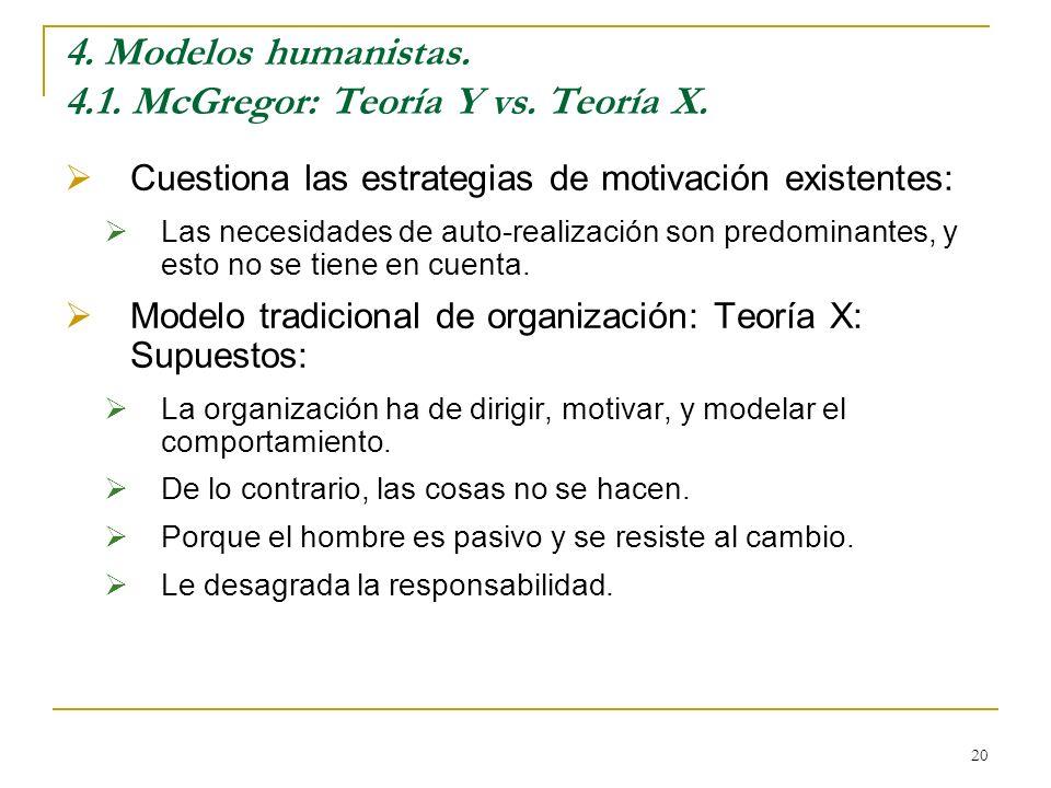 4. Modelos humanistas. 4.1. McGregor: Teoría Y vs. Teoría X.