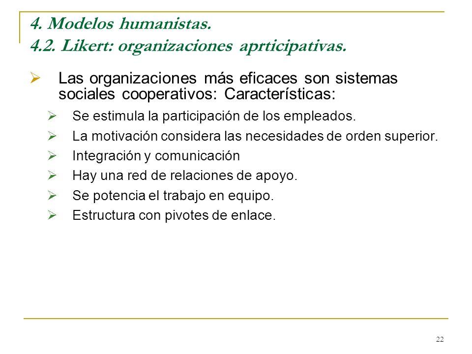 4. Modelos humanistas. 4.2. Likert: organizaciones aprticipativas.