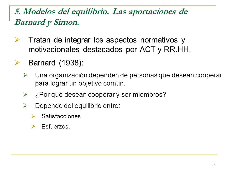 5. Modelos del equilibrio. Las aportaciones de Barnard y Simon.