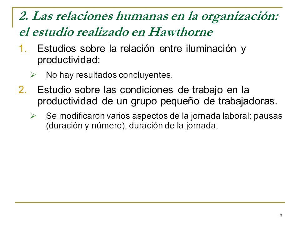 2. Las relaciones humanas en la organización: el estudio realizado en Hawthorne