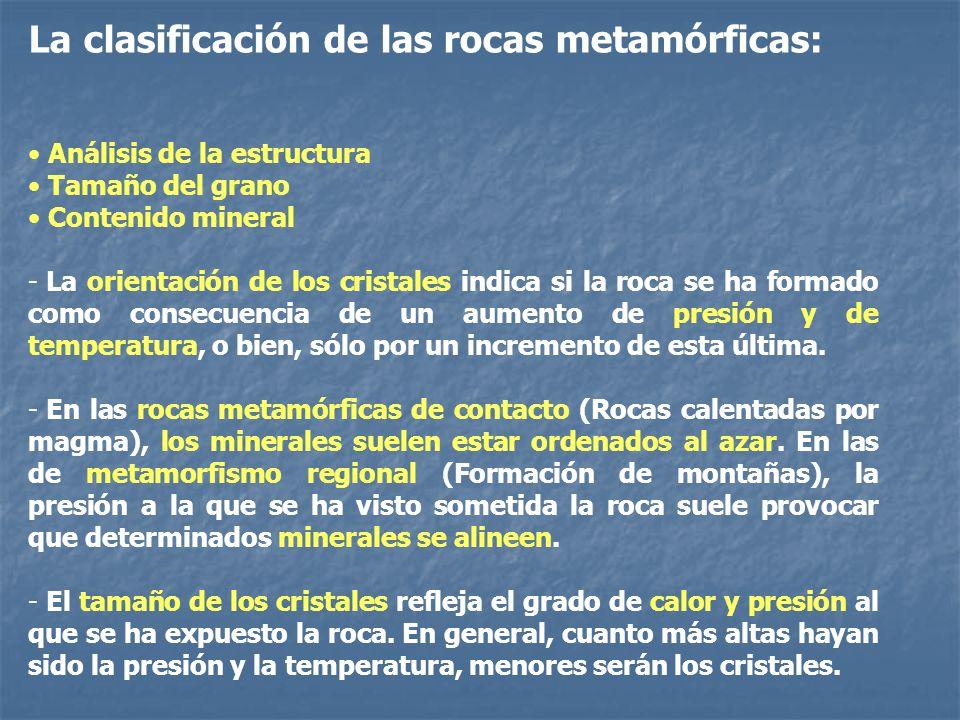 La clasificación de las rocas metamórficas: