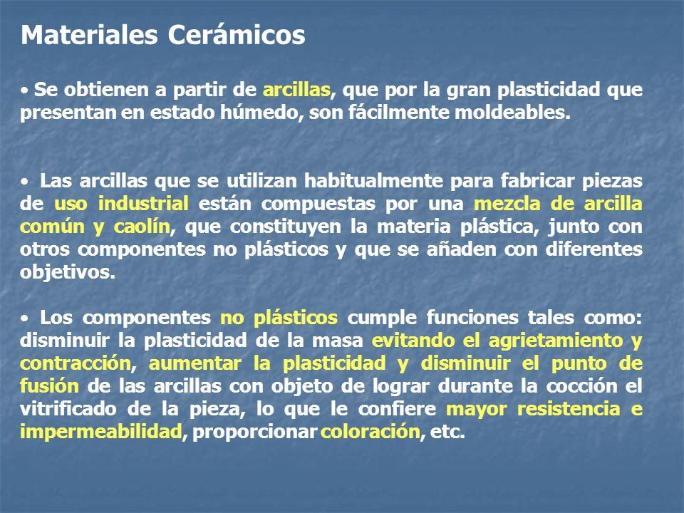 Materiales Cerámicos Se obtienen a partir de arcillas, que por la gran plasticidad que presentan en estado húmedo, son fácilmente moldeables.