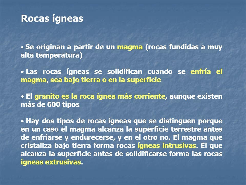 Rocas ígneas Se originan a partir de un magma (rocas fundidas a muy alta temperatura)