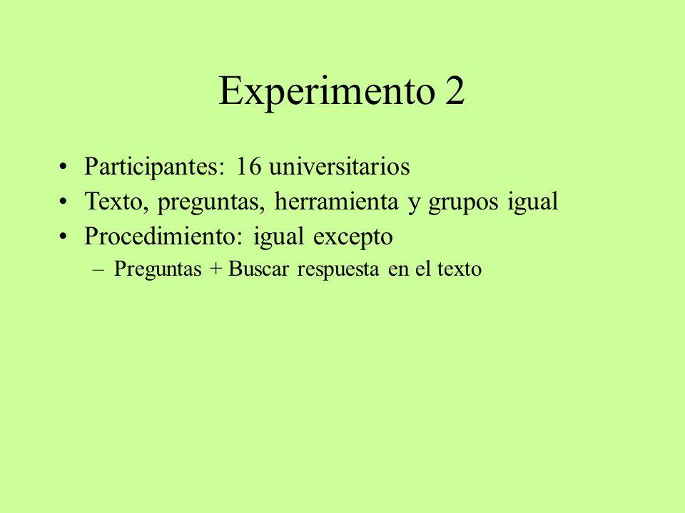Experimento 2 Participantes: 16 universitarios