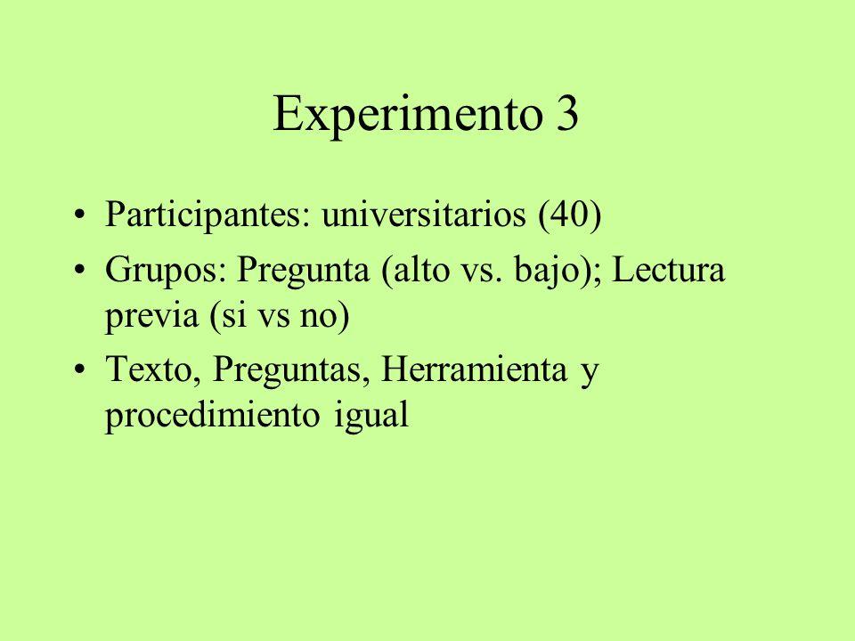 Experimento 3 Participantes: universitarios (40)