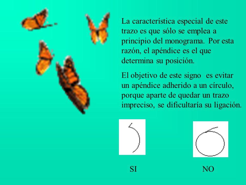 La característica especial de este trazo es que sólo se emplea a principio del monograma. Por esta razón, el apéndice es el que determina su posición.