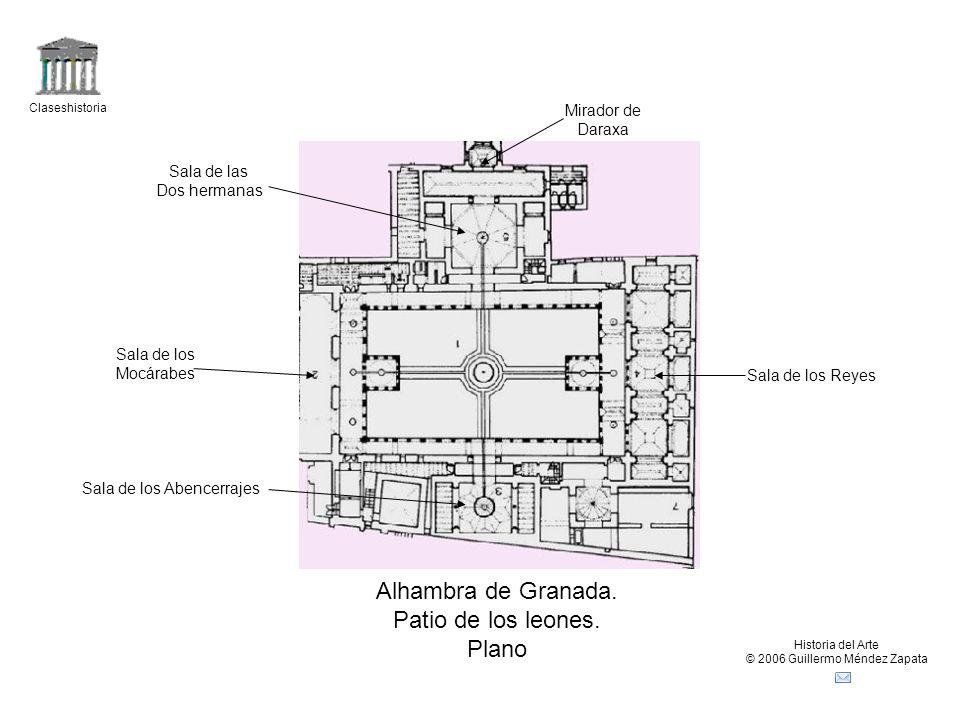 Alhambra de Granada. Patio de los leones. Plano Mirador de Daraxa
