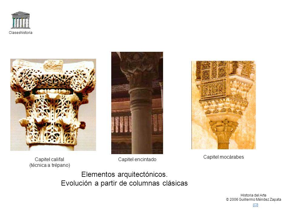 Elementos arquitectónicos. Evolución a partir de columnas clásicas