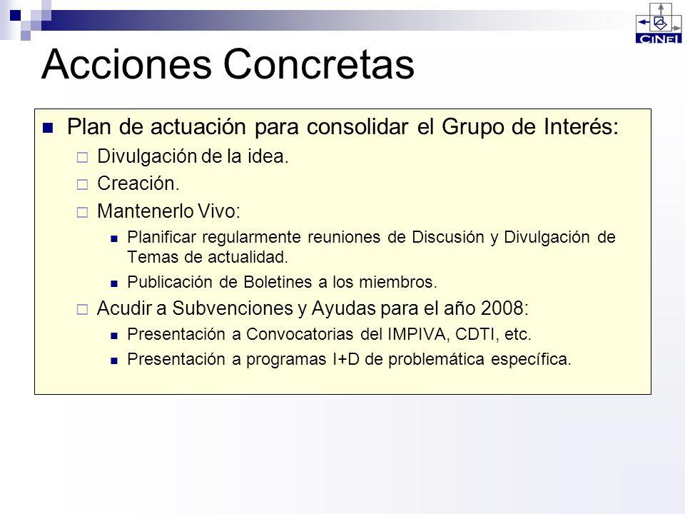 Acciones Concretas Plan de actuación para consolidar el Grupo de Interés: Divulgación de la idea. Creación.
