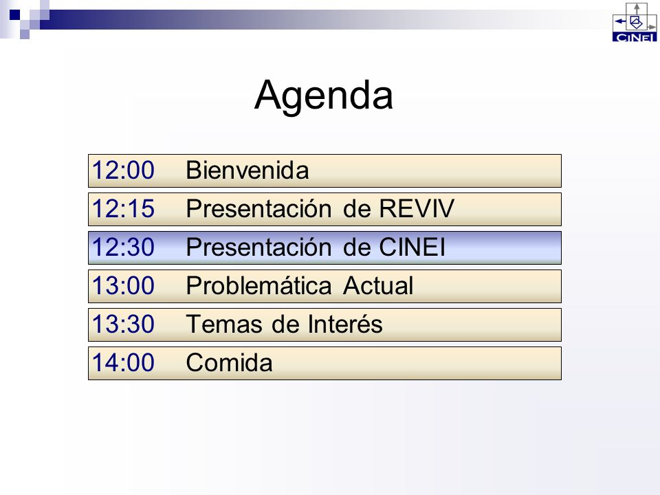 Agenda 12:00 Bienvenida 12:15 Presentación de REVIV
