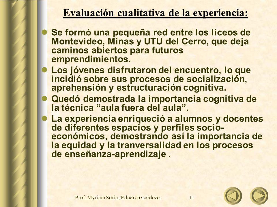 Evaluación cualitativa de la experiencia: