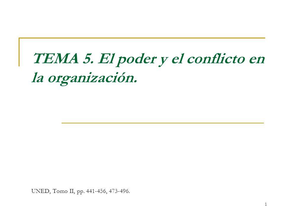 TEMA 5. El poder y el conflicto en la organización.
