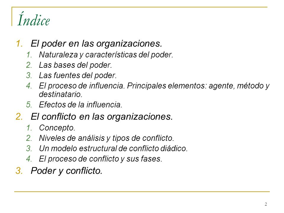 Índice El poder en las organizaciones.