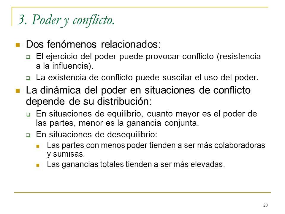 3. Poder y conflicto. Dos fenómenos relacionados: