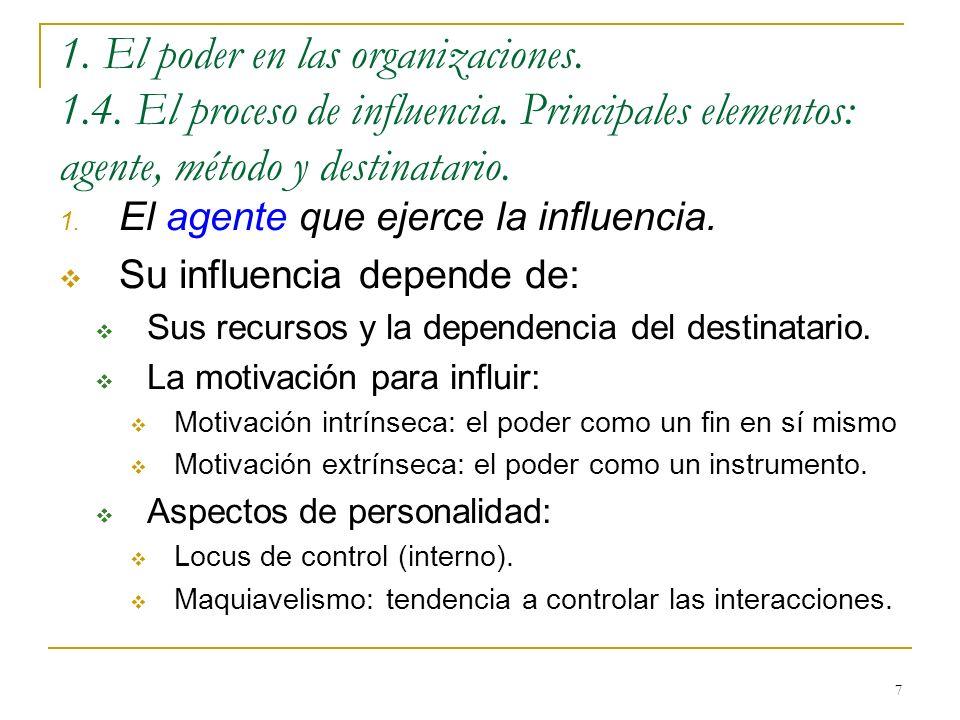 1. El poder en las organizaciones. 1. 4. El proceso de influencia