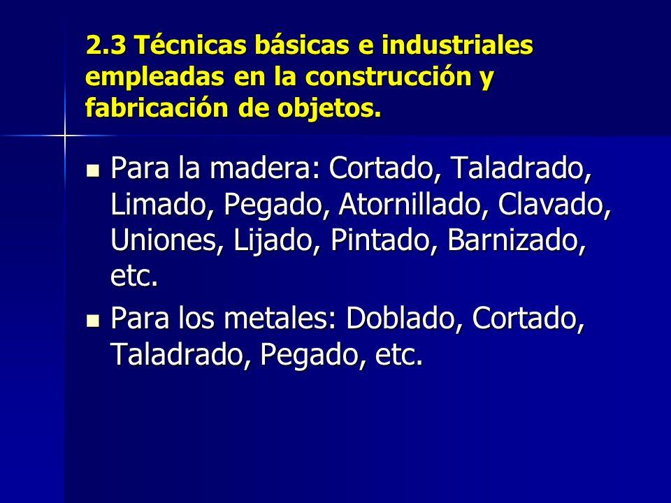 Para los metales: Doblado, Cortado, Taladrado, Pegado, etc.