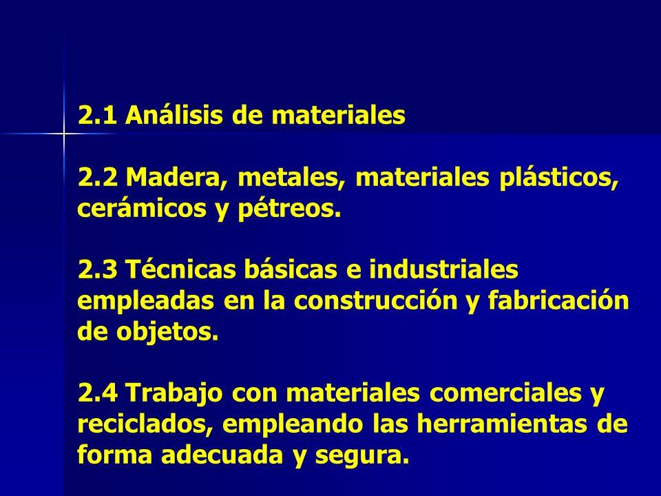 2. 1 Análisis de materiales 2