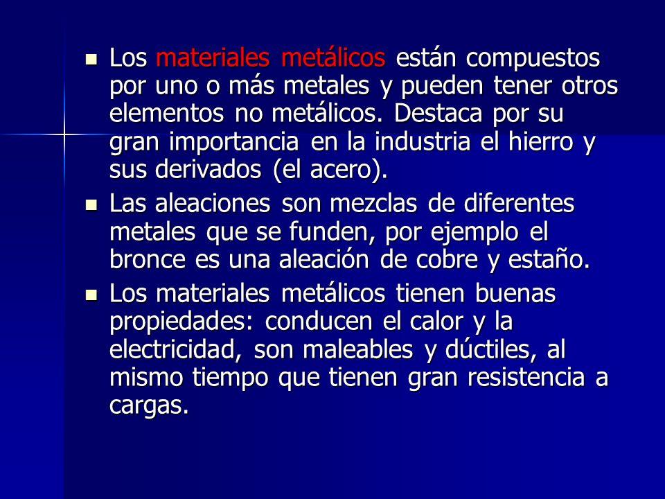 Los materiales metálicos están compuestos por uno o más metales y pueden tener otros elementos no metálicos. Destaca por su gran importancia en la industria el hierro y sus derivados (el acero).