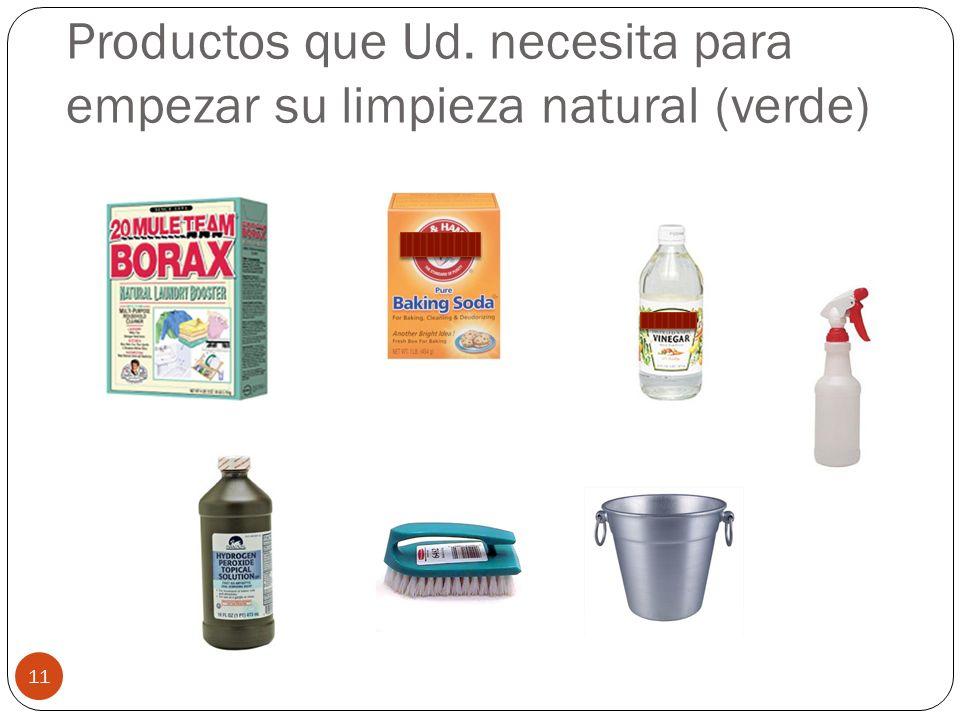 Productos que Ud. necesita para empezar su limpieza natural (verde)