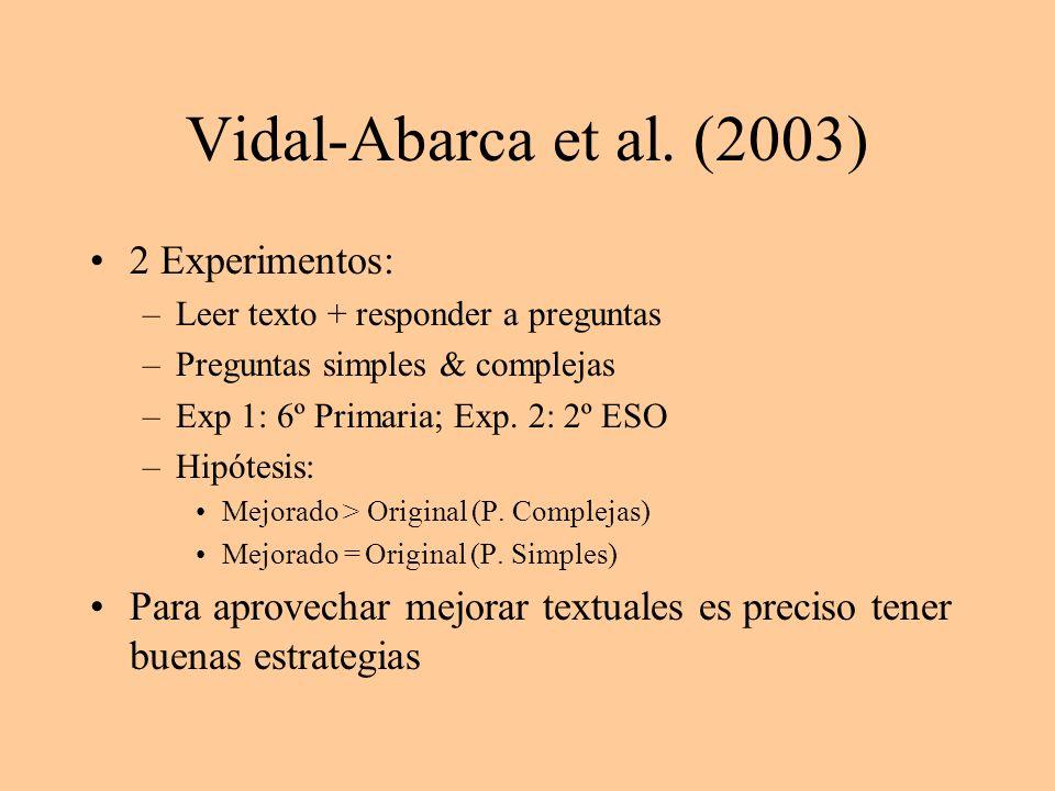 Vidal-Abarca et al. (2003) 2 Experimentos: