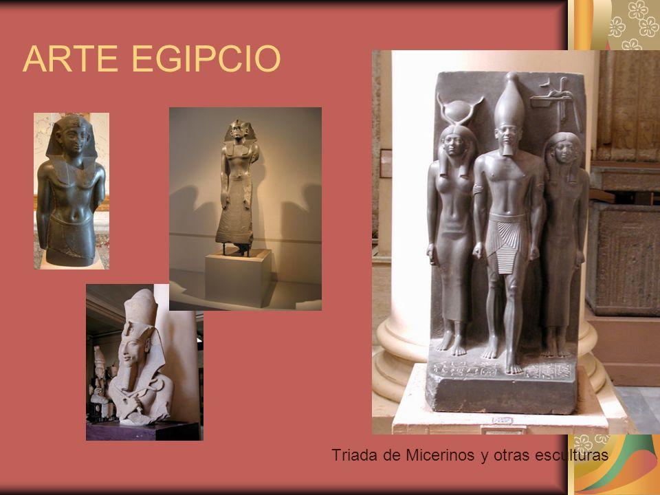 ARTE EGIPCIO Triada de Micerinos y otras esculturas