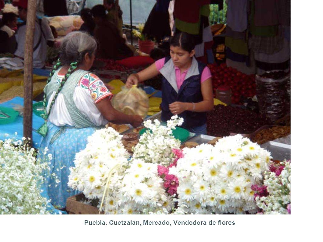 Puebla, Cuetzalan, Mercado, Vendedora de flores