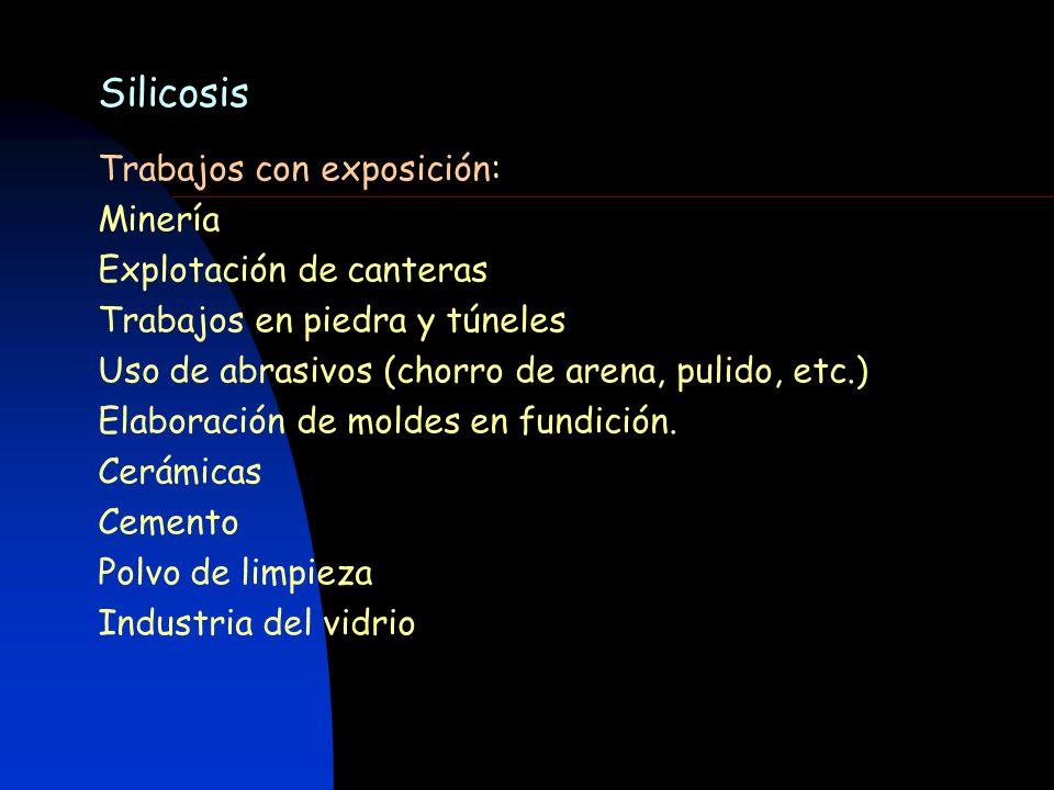 Silicosis Trabajos con exposición: Minería Explotación de canteras