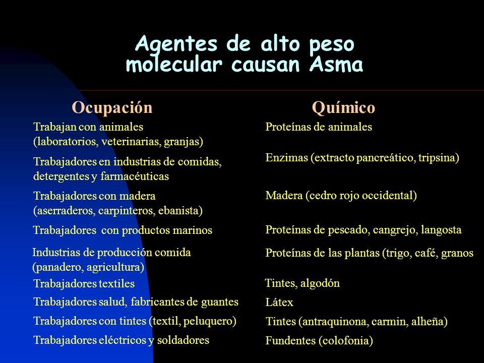 Agentes de alto peso molecular causan Asma