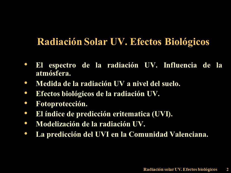 Radiación Solar UV. Efectos Biológicos