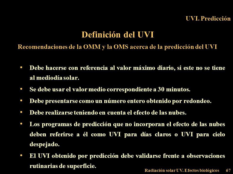 Recomendaciones de la OMM y la OMS acerca de la predicción del UVI