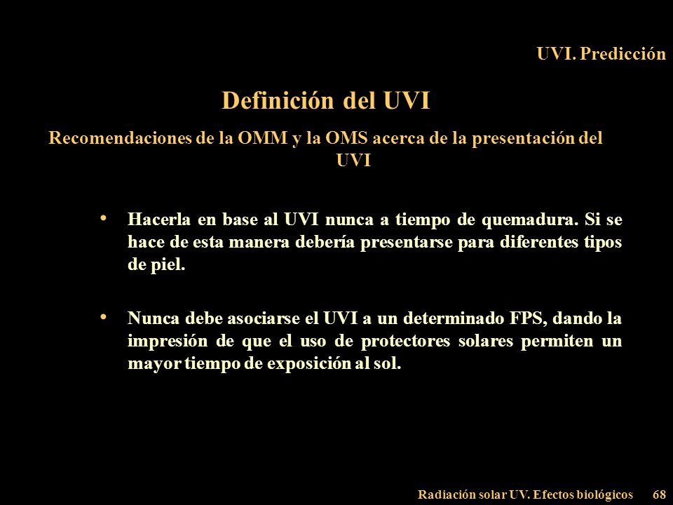 Recomendaciones de la OMM y la OMS acerca de la presentación del UVI