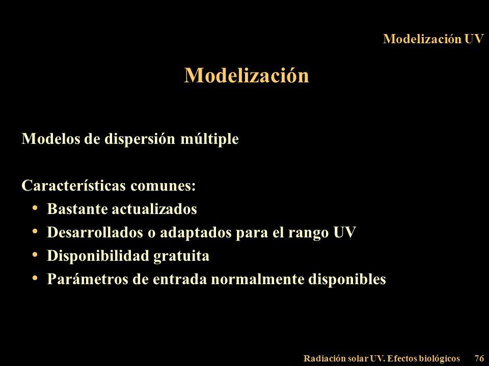 Modelización Modelos de dispersión múltiple Características comunes: