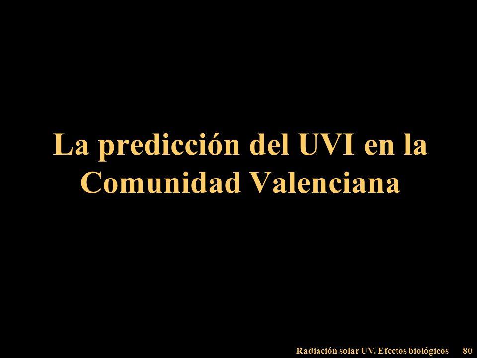 La predicción del UVI en la Comunidad Valenciana