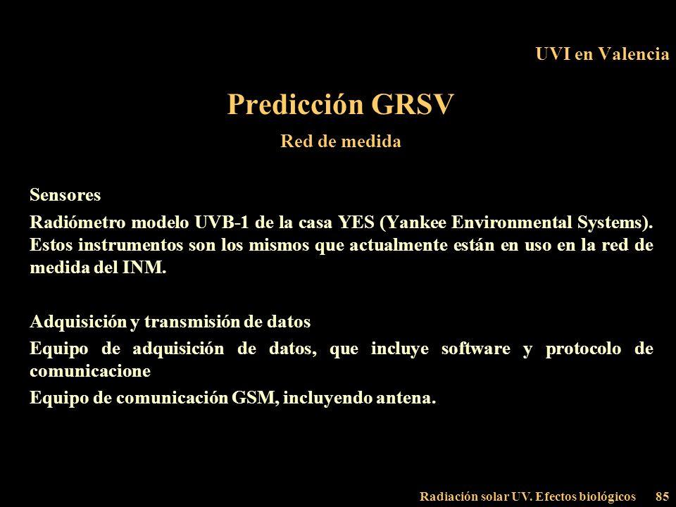 Predicción GRSV UVI en Valencia Red de medida Sensores